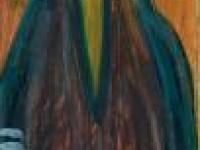 Homme concierge habitant Venus huile et crayon gras sur carton 107 x 17,5 cm 1966